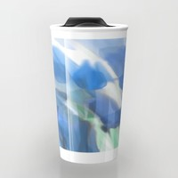Meadow Flowers  In Soft Blue Travel Mug by Jen Warmuth Art And Design