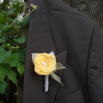 Yellow Wedding Boutonniere, Groom, Groomsmen, Gray, Rustic Boutonniere, Fabric Flower, Handmade Flower