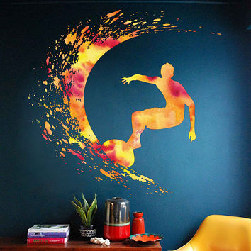 cik1878 Full Color Wall decal Watercolor Surfer wave surfing living room children's room