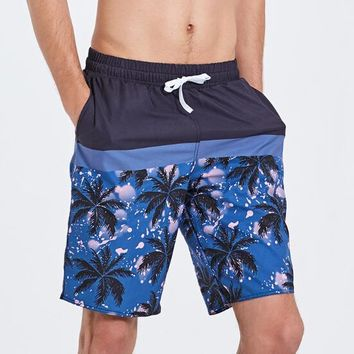 Top Quality Men's Printing Quick Dry colorful Stripe Coconut Tree Beach Shorts Swim Trunks Boartshort Hot Sell Free Shipping