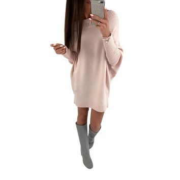 Off Shoulder Long Sweater Dress with Bat Sleeves