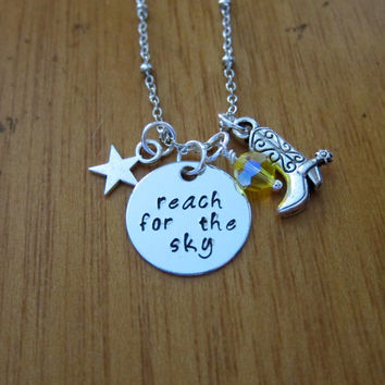 "Disney's ""Toy Story"" Inspired Necklace. Sheriff Woody ""Reach for the Sky"". Swarovski crystal, for women or girls."