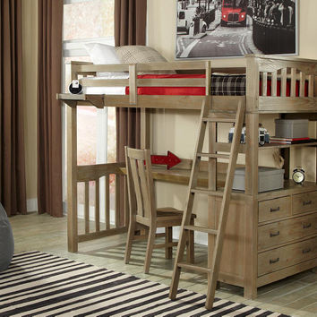 Crosspointe Driftwood Twin Size Study Loft Bed
