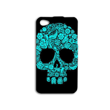 Skull Candy Case Floral Skull Case Day of the Dead Case Turquoise iPhone Case Cool iPod Case iPhone 5 Case iPhone 4 Case iPhone 5s Case