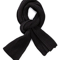 V. Fraas 2-Color Plated Rib-Knit Scarf - Black/Charcoal