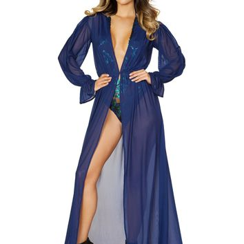 Roma RM-3531 One Piece Long Sleeve Sheer Mesh Dress with Elastic Band
