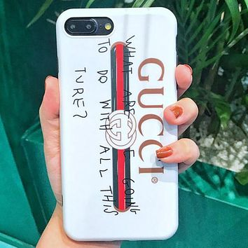 GUCCI street card spoof letters iphone8p graffiti matte couple soft shell White
