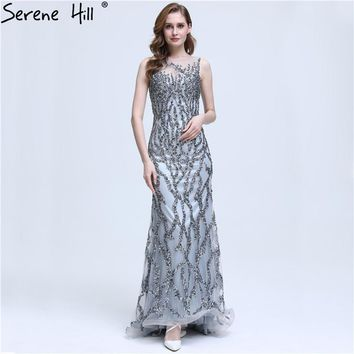 Grey Sleeveless Mermaid Sparkly Sexy Evening Dress Crystal Sequined Luxury Evening Gowns