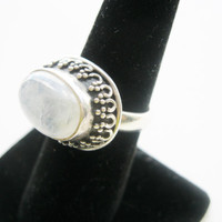Sterling Silver Quartz Crystal Gemstone Ring - Sterling Silver Ring Size 7 - Healing Energy Crystal - Chakra Balance Jewelry