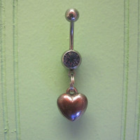 Belly Button Ring - Body Jewelry - Silver Heart with Lt. Purple Gem Stone Belly Button Ring