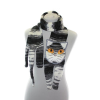 Knitted Scarf / black white and gray Scarf / tabby cat scarf / knit cat scarf /  animal scarf