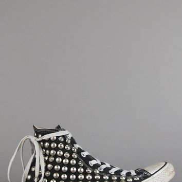 Distressed Studded Converse High Top Sneakers