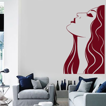 Vinyl Wall Decal Woman Beauty Salon Hair Stylist Hairdresser Art Stickers Unique Gift (ig4683)