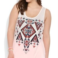 Plus Size Racerback Trapeze Tank Top with Aztec Screen