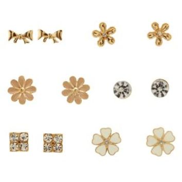 Gold Heart & Bow Stud Earrings - 6 Pack by Charlotte Russe