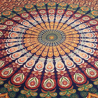 Multimate Pecock Tapestry Indian Mandala Tapestries Queen Indian Bedding Coverlet Bohemian Wall Decoration Dorm Tapestries Beach Throws and Sheets
