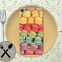 Macaron Cookie French Macaroon Rainbow Color Cute Custom Rubber Case iPod 5th Generation and Plastic Case For The iPod 4th Generation