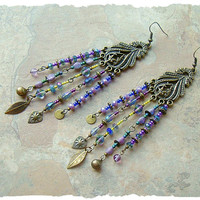 Boho Exotic Earrings, Blue and Purple Gypsy Earrings, Bohemian Jewelry, Peacock Earrings, BohoStyleMe, Kaye Kraus