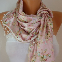 Women  Shawl Scarf -  Cowl Scarf  with Lace Edge - Pink