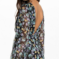 Long Sleeve Floral Backless Dress