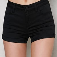 PacSun Black Mid Rise Super Stretch Denim Shorts at PacSun.com