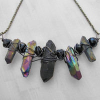 Quartz Point Necklace Crystal Necklace Tribal Necklace Ancient Primordial Prehistoric Themed Jewelry Rainbow Quartz Necklace LARP Cosplay