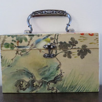 Lovely Vintage Wooden 50's 60s Novelty Bird Butterfly Box Bag / Purse / Large / Picnic