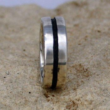 Rustic Organic Mans Wedding Ring  Textured Recycled   Silver Jewelry Metalwork Ring