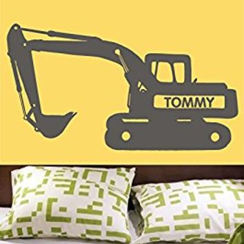 Wall Decal Vinyl Sticker Decals Art Decor Design Bulldozer Excavator TractorCustom Name Boys Kids Children Mans Living Room Nursery (r574)
