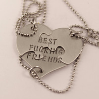 """Best Fucking Friends"" THREE piece puzzle broken heart necklace set"