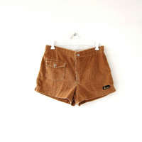 Vintage corduroy shorts. Brown ribbed shorts. 80s tomboy shorts.