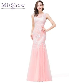 In stock 2018 Real Photos Mermaid Long Pink Tulle Evening Dresses Elegant Robe De Soiree Longue See Through Back Party Prom Gown