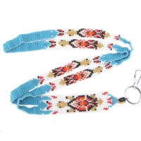 Native American Style Turtle Design Seed Beaded Lanyard Id Holder