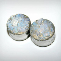 opalite stones-Stainless steel gauges- Ears plugs-Double flared or single flared