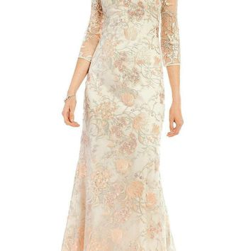 Aidan Mattox Sheer Embroidered Lace Gown MD1E201009