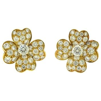 Vintage Van Cleef & Arpels Cosmos Yellow Gold Flower Clip on Earrings