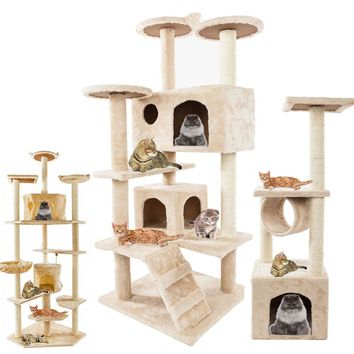Cat Furniture Tower 36-80 Inches With Climbing Shelves And Condos - Great For Multi Cat Families