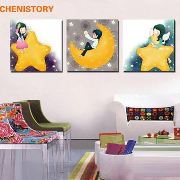 Unframed 3 Pieces Cartoon Girl Moon Star Modern Print Wall Art Picture Canvas Home Wall Decorative For Kid Room Wall Unique Gift