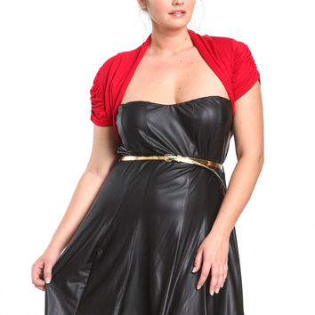 Plus Size Red Ruched Bolero