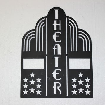 Theater Sign with Stars Home Theater Decor Metal Wall Sign