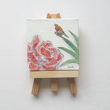 Miniature Acrylic Bird Painting on a Mini Canvas, Original minature painting