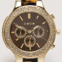 bebe Womens Tortoise Link Watch Tortoise Gold
