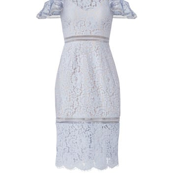 Keepsake Pale Blue Lace Cold Shoulder Sheath