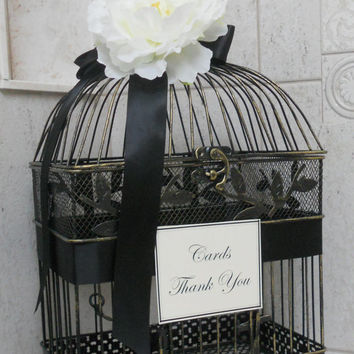 Birdcage Card Holder / Wedding Card Box / Birdcage Wedding Cardholder / Black and White Wedding
