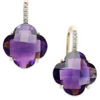 14k Gold Earrings, Amethyst (16 ct. t.w.) and Diamond Leverback Earrings