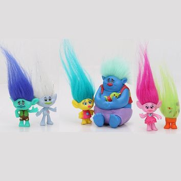 6Pcs/Set 2-6cm Trolls Movie figures Collectible Dolls Branch Biggie PVC Trolls Action Figures toys children gift