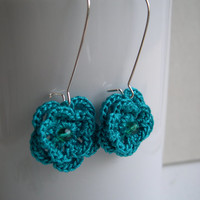 Teal flower earrings -Teal dangle earrings - Spring Fashion - Crochet Flower Earrings - Valentine's day gift idea - Teal Bridesmaid earrings