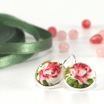 Roses Roses - Silver Toned Leverback Earrings - Pink White Flower with Green Leaves - Shabby Chic Fabric Covered Buttons Nickel Free Jewelry
