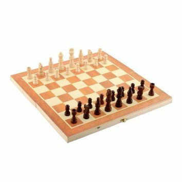 DCCK7N3 Classic Wooden Chess Set Board Game 34cm x 34cm Foldable Portable Kids Gift  For Fun Family Friend