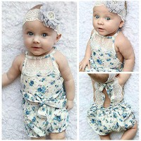 White Lace and Blue Floral Romper